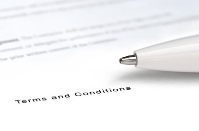 Contract terms and conditions word with pen