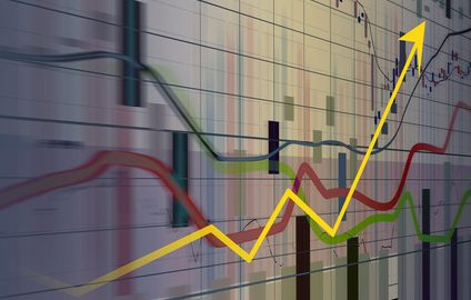 Financial and business charts showing growth