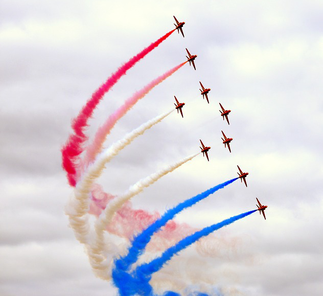 Red Arrows in Farnborough, Hampshire