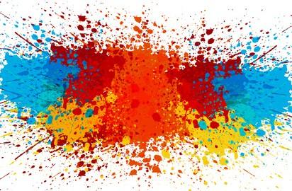 Abstract colour paint splatter