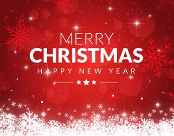 Merry Christmas and Happy New Year written on red background with snowflakes and stars