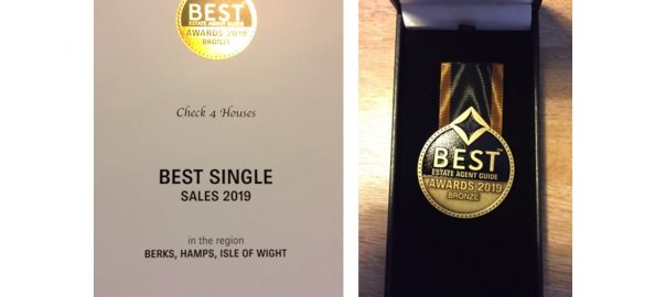 Bronze medal best estate agent Hampshire, Berkshire and IOW